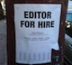 Seen: Editor for Hire sign